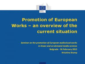 Promotion of European Works an overview of the current situation