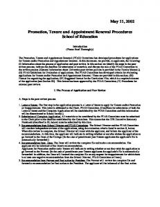 Promotion, Tenure and Appointment Renewal Procedures School of Education
