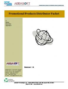 Promotional Products Distributor Packet