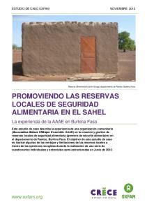 PROMOVIENDO LAS RESERVAS LOCALES DE SEGURIDAD ALIMENTARIA EN EL SAHEL