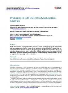 Pronouns in Ode Dialect: A Grammatical Analysis