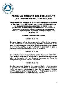 PRONUNCIAMIENTO DEL PARLAMENTO CENTROAMERICANO PARLACEN-