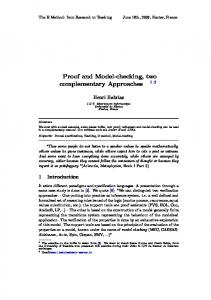 Proof and Model-checking, two complementary Approaches