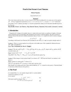 Proof of the Fermat s Last Theorem