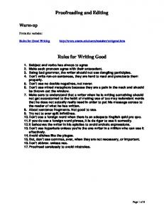 Proofreading and Editing. Rules for Writing Good