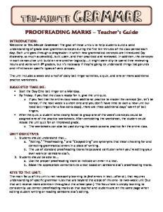 PROOFREADING MARKS Teacher s Guide