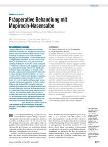 Präoperative Behandlung mit Mupirocin-Nasensalbe