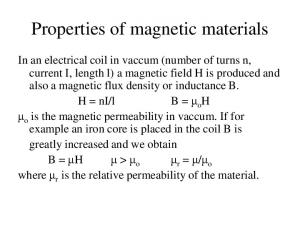 Properties of magnetic materials