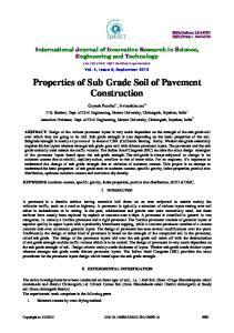 Properties of Sub Grade Soil of Pavement Construction