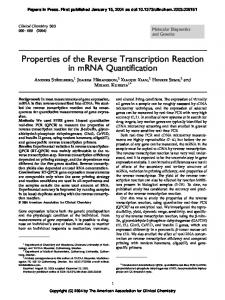 Properties of the Reverse Transcription Reaction in mrna Quantification