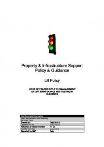 Property & Infrastructure Support Policy & Guidance
