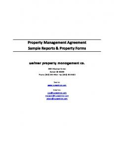 Property Management Agreement Sample Reports & Property Forms