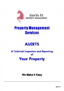 Property Management Services AUDITS. Your Property