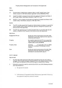 Property Moose Management and Transaction Fee Agreement