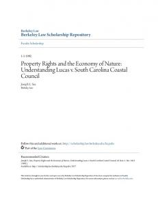 Property Rights and the Economy of Nature: Understanding Lucas v. South Carolina Coastal Council
