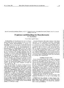 Prophylaxe und Behandlung der Phenylketonurie Eine Zwisdienbilanz