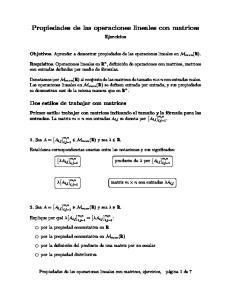 Propiedades de las operaciones lineales con matrices