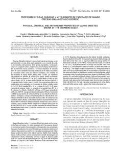 PROPIEDADES FÍSICAS, QUÍMICAS Y ANTIOXIDANTES DE VARIEDADES DE MANGO CRECIDAS EN LA COSTA DE GUERRERO