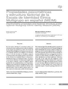Propiedades psicométricas y estructura factorial de la Escala de Identidad Étnica Multigrupo en español (MEIM)