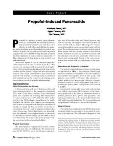 Propofol-Induced Pancreatitis