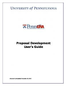 Proposal Development User s Guide