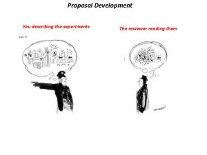 Proposal Development. You describing the experiments. The reviewer reading them
