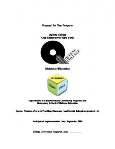 Proposal for New Program. Queens College City University of New York. Division of Education