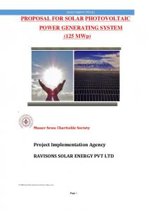 PROPOSAL FOR SOLAR PHOTOVOLTAIC POWER GENERATING SYSTEM (125 MWp)