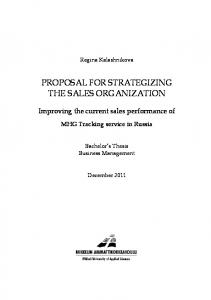 PROPOSAL FOR STRATEGIZING THE SALES ORGANIZATION