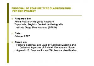 PROPOSAL OF FEATURE TYPE CLASSIFICATION FOR EGN PROJECT