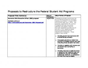 Proposals to Restructure the Federal Student Aid Programs