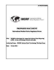 PROPOSED DOCUMENT. International Medical Device Regulators Forum