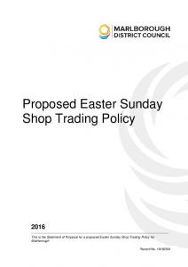 Proposed Easter Sunday Shop Trading Policy
