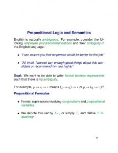 Propositional Logic and Semantics
