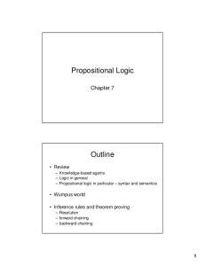 Propositional Logic. Outline