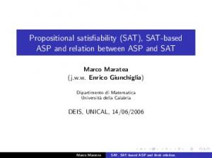 Propositional satisfiability (SAT), SAT-based ASP and relation between ASP and SAT