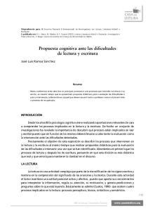 Propuesta cognitiva ante las dificultades de lectura y escritura
