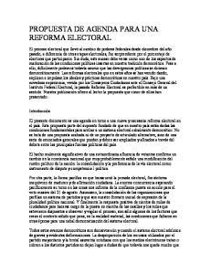 PROPUESTA DE AGENDA PARA UNA REFORMA ELECTORAL