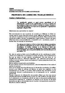 PROPUESTA DE CAMBIO DEL TRABAJO MEDICO