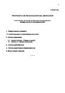 PROPUESTA DE NEGOCIACION DEL MERCOSUR