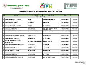 PROPUESTA DE OBRAS PROGRAMA ESCUELAS AL CIEN 2016