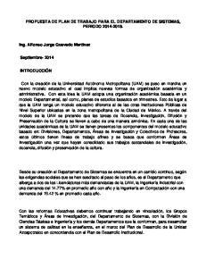 PROPUESTA DE PLAN DE TRABAJO PARA EL DEPARTAMENTO DE SISTEMAS, PERIODO