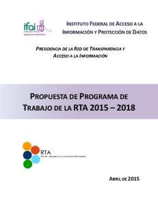 PROPUESTA DE PROGRAMA DE TRABAJO DE LA RTA