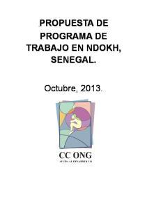 PROPUESTA DE PROGRAMA DE TRABAJO EN NDOKH, SENEGAL. Octubre, 2013