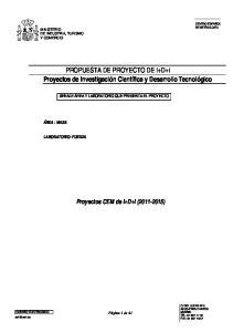 PROPUESTA DE PROYECTO DE I+D+i Proyectos de Investigación Científica y Desarrollo Tecnológico