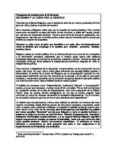 Propuesta de trabajo para el 20 de junio BELGRANO Y LA LUCHA POR LA LIBERTAD