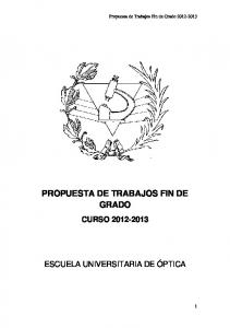 PROPUESTA DE TRABAJOS FIN DE GRADO