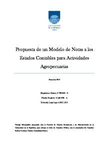 Propuesta de un Modelo de Notas a los Estados Contables para Actividades Agropecuarias