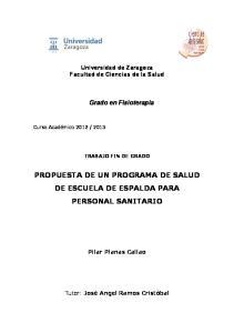 PROPUESTA DE UN PROGRAMA DE SALUD DE ESCUELA DE ESPALDA PARA PERSONAL SANITARIO