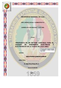 PROPUESTA DE UN SISTEMA CONTABLE PARA EL COLEGIO DE INGENIEROS ELECTRICOS Y ELECTRONICOS DE LA CIUDAD DE LOJA CIEEL